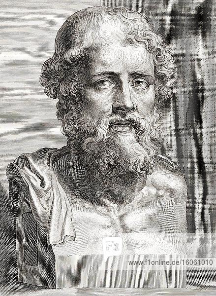 Demosthenes  384 - 322 v. Chr. Griechischer Staatsmann und Redner des antiken Athen. Nach einem Stich von Hans Witdoeck  nach einem Werk von Peter Paul Rubens.