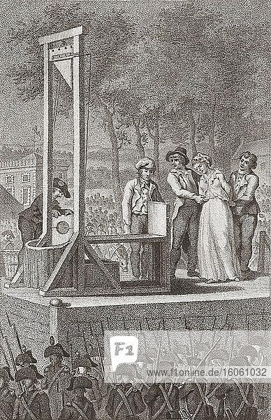 Marie Antoinette being led to the guillotine  October 16  1793. Marie Antoinette  1755 –1793. Queen of France. By Christiaan Josi  after Cornelis van Cuylenburgh (II).