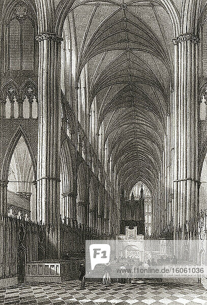 Interior of Westminster Abbey  City of Westminster  London  England  19th century. From The History of London: Illustrated by Views in London and Westminster  published c.1838.