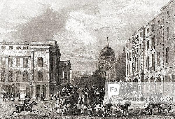Hauptpostamt  St. Martin's Le Grand  London  England  19. Jahrhundert. Aus der Geschichte Londons: Illustriert von Views in London und Westminster  erschienen um 1838.