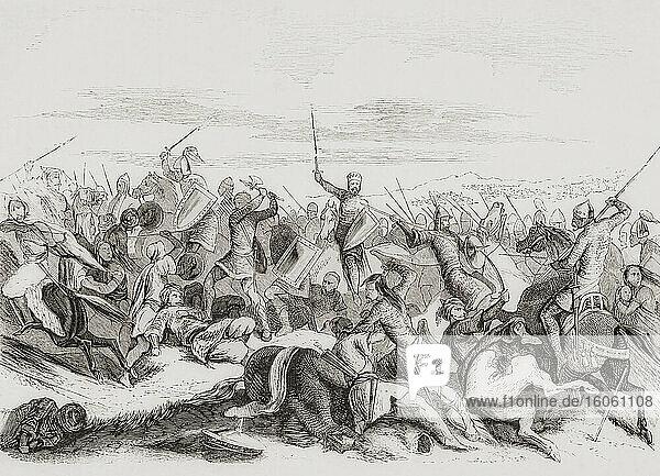 König Ramiro II. von Leon besiegt Abd-al-Rahman III. in der Schlacht von Simancas  939 n. Chr. Aus Las Glorias Nacionales  veröffentlicht in Madrid und Barcelona  1852.