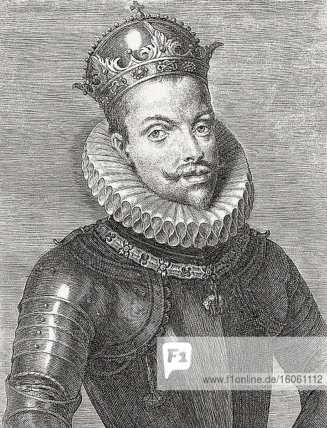 König Philipp III. von Spanien und als Philipp II. König von Portugal  1578 - 1621. Felipe III auf Spanisch. Philipp II. auf Portugiesisch. Spitzname: der Fromme. Nach einem Stich aus dem 17. Jahrhundert.