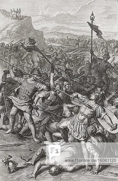 Der Kampf Israels gegen die Amalekiter. Nach einem Stich von Abraham de Blois  nach einem Werk von Gerard Hoet.