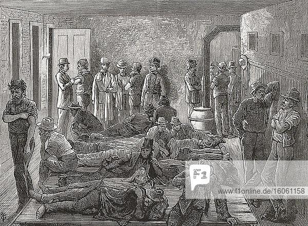 Isolation obdachloser Männer während einer Pockenepidemie in New York  USA  im späten 19. Ausbrüche ansteckender Krankheiten in Slumgebieten waren in New York und anderen Großstädten auf der ganzen Welt weit verbreitet. Nach einer Illustration in einer Ausgabe der Illustrierten Zeitung von Frank Leslie aus dem Jahr 1879.