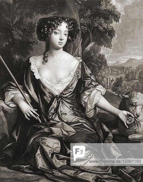 Louise Renée de Penancoët de Kérouaille  Herzogin von Portsmouth  1649 - 1734. In Frankreich geborene Mätresse von König Karl II. von England. Von und Illustration von Gerard Valck nach einem Gemälde von Sir Peter Lely.