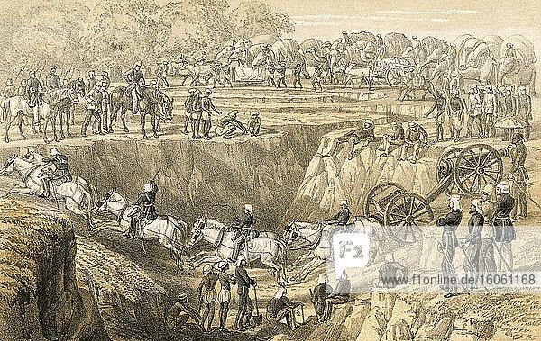 Artillerie überquert einen Nullah. Das 53. Regiment  das während des indischen Aufstands von 1857 eine Nullah oder Nulla  einen Bach oder Wasserlauf  auf dem Weg zur Ablösung von Lucknow durchquert. Aus Erinnerungen an einen Winterfeldzug in Indien  1857-58  veröffentlicht 1869.