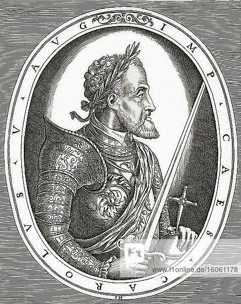 Karl V.  1500-1558. Kaiser des Heiligen Römischen Reiches. Carlos V. König von Spanien als Karl I. Carlos I. Nach einem Druck von Frans Huys aus dem 16.