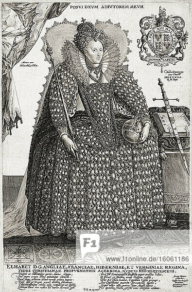 Elizabeth I  1533 - 1603. Queen of England. From a 17th century engraving by Crispijn van de Passe the Elder after a work by Isaac Oliver.