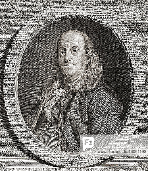 Benjamin Franklin  1706 - 1790. American author  politician  printer  scientist  philosopher  publisher  inventor and civic activist and diplomat. He was one of the Founding Fathers. From an engraving by Juste Chevillet after a work by Joseph Duplessis.