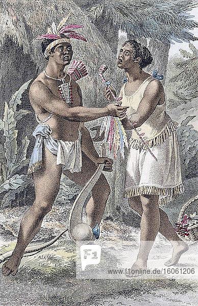 Ein indisches Ehepaar aus Naudowessie in ihrem Dorf. Aus einer Radierung des frühen 19. Jahrhunderts von Ludwig Gottlieb Portman  nach Jacques Kuyper.
