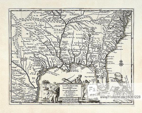La Floride. Karte des südöstlichen Nordamerikas  einschließlich Florida  mit Dörfern der amerikanischen Ureinwohner und französischen  spanischen und englischen Siedlungen. Herausgegeben von Pieter van der Aa  Leiden  um 1713.