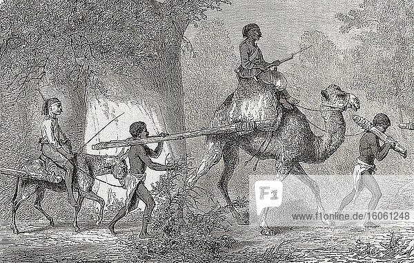 Captured men from Keri in the Sudan are led into slavery by Turkish slave traders. After a c.1855 work by French painter and illustrator Karl Girardet  1813 - 1871.