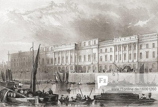 Das Zollhaus  London  England  19. Jahrhundert. Aus der Geschichte Londons: Illustriert von Views in London und Westminster  erschienen um 1838.