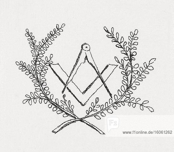 Symbole der Freimaurerei. Kompass und Quadrat.