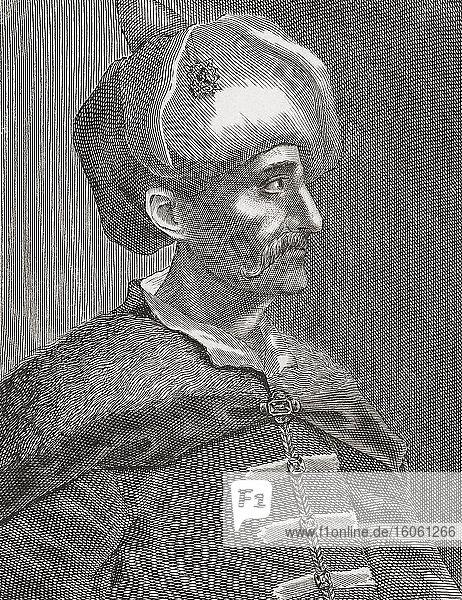 Ahmed I.  1590 - 1617. Sultan des Osmanischen Reiches. Nach einem Stich aus dem 18. Jahrhundert von einem unbekannten Künstler.