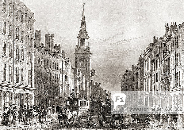 Cheapside  London  England  19th century. From The History of London: Illustrated by Views in London and Westminster  published c.1838.