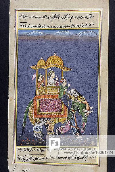 Rajasthanische Miniaturmalerei aus Rajasthan  Indien. Vermutlich Ende 19. oder Anfang 20. Jahrhundert. Ein Mann von Rang reitet auf einem Elefanten mit einem Diener und einem Fahrer. Der Elefant wurde so gemalt  als sei er aus vielen verschiedenen Tieren geschaffen worden.