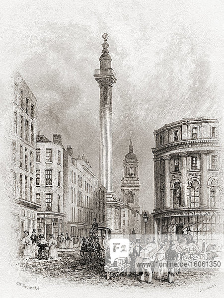 The Monument and St Magnus The Martyr Church  London  England  19th century. From The History of London: Illustrated by Views in London and Westminster  published c.1838.