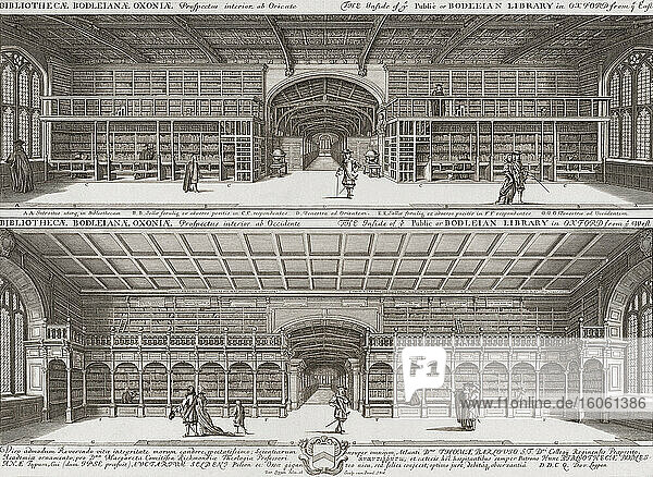 Interior of the Bodleian Library  Oxford  England. After a 17th century work by English artist David Loggan.