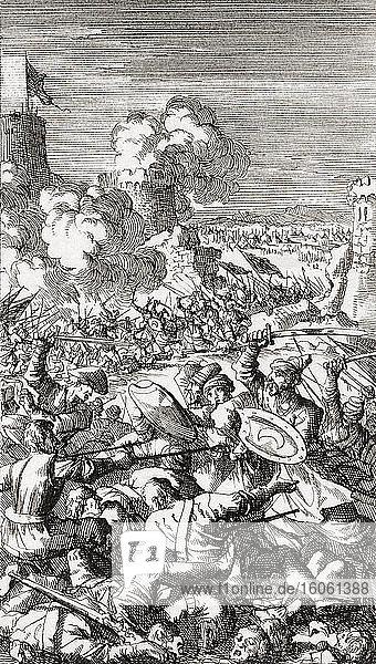 Die Belagerung von Nikosia  Zypern  durch die osmanische Armee im Jahr 1570. Nach einer Radierung von Jan Luyken aus dem Jahr 1699.