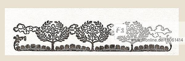 Dekorativer Seitenkopf. Aus dem Buch Knaresburgh and its Rulers  erschienen 1907.