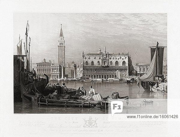 Dogenpalast und Markusplatz  Venedig  Italien zu Beginn des 19. Jahrhunderts. Nach einer Radierung von Henry Le Keux  nach einem Werk von Samuel Prout.