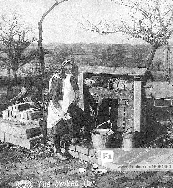 Little girl in victorian times at the well with a broken jug