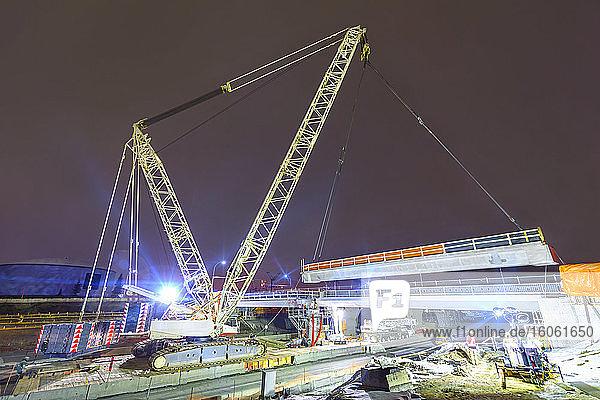 Nighttime construction on Whitemud Drive; Edmonton  Alberta  Canada