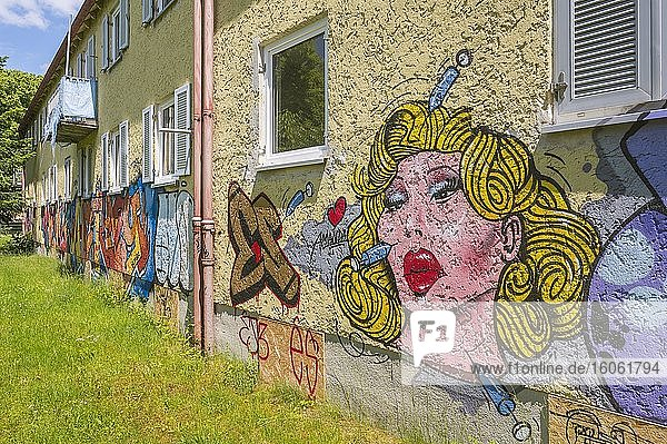 Satirisches Graffito  Schönheits OP  Abrisshäuser an der Haldenseestraße  Ramersdorf  München  Oberbayern  Bayern  Deutschland  Europa