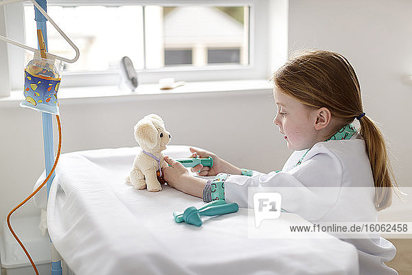 Young girl dressed as doctor pretending to treat toy dog in make-bleieve hospital bed