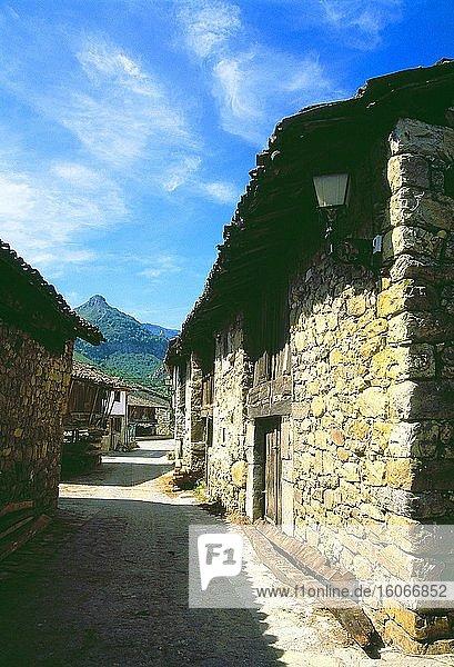 Street. Soto de Aguas  Redes Nature Reserve  Asturias  Spain.