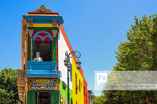 Buenos Aires  Argentina  La Boca district  an ancient and colorfull house in Caminito street