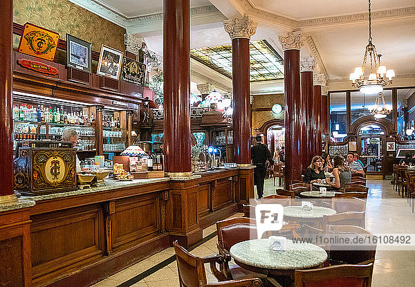Buenos Aires  Argentina  The classic and rich decorations of the interior of the famous historical coffee bar Cafe Tortoni in Avenida De Majo