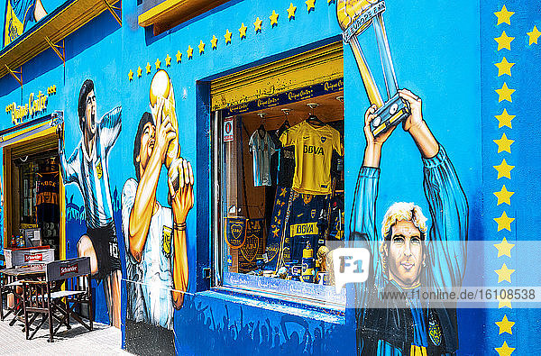 Buenos Aires  Argentina  A footbal fans store in front of the Boca Junior Stadium