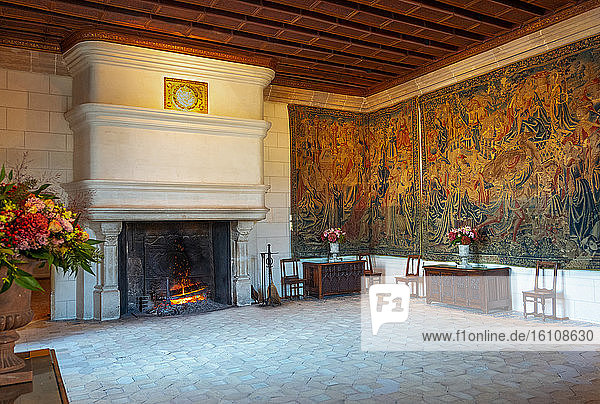 Chenonceaux  France  The big fireplace of the Guard's romm in the Chenonceau castle