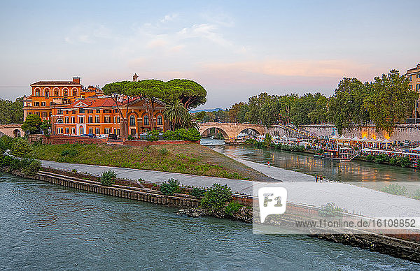 Rome  Italy  The Tiber river and the Tiberina island at sunset seen from the Trastevere quarter
