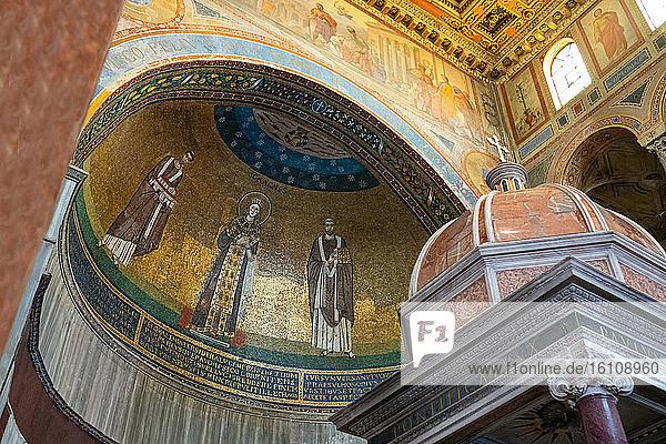 Rome  Italy  The apse mosaic of the Santa Agnese Basilica