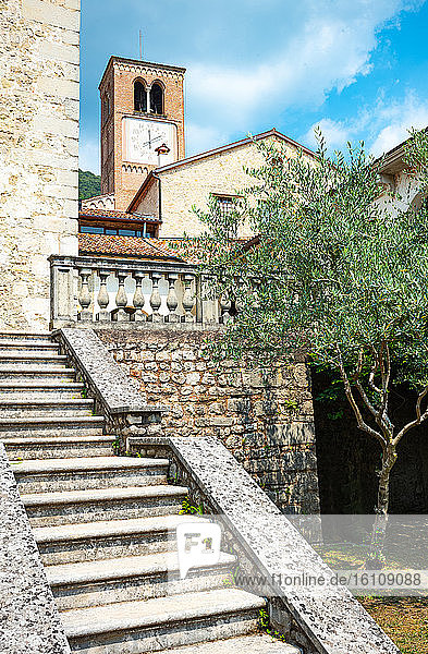 Follina  Italy  the Cistercian Abbey of Santa Maria seen from the garden