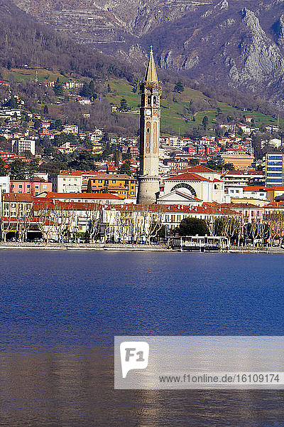 Italy  Lombardy  Lecco  cityscape with San Nicolò belfry