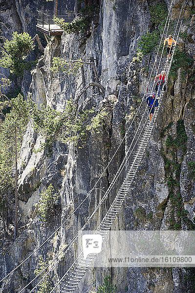 Europe  Italy  Piedmont  Claviere  Tibetan bridge of the Gorgias of s. Gervasio. It is the longest Tibetan bridge in the world (544 meters).
