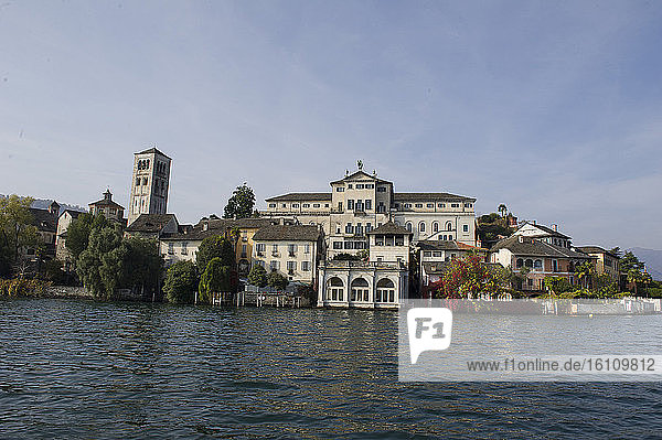 Europe  Italy  Orta San Giulio  at Lake Orta  province of Novara  Piedmont  Lago d'Orta  S. Giulio island