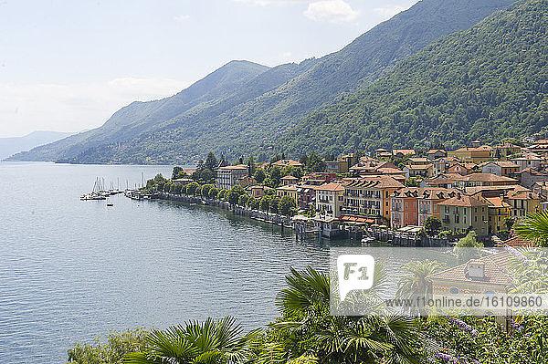 Europe  Italy  Cannobio  Italy  - Lakeside Park Lago Maggiore  Beach of Cannero Riviera