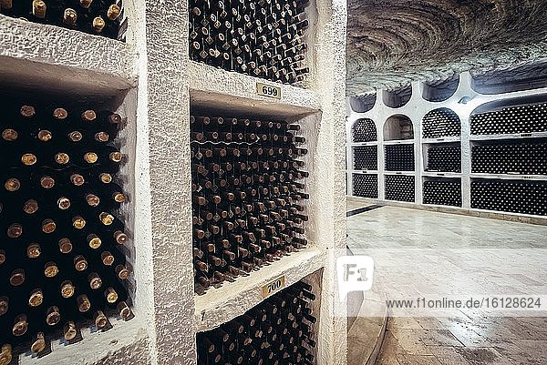 Corridor of National Oenotheque - wine collection in Famous Cricova winery in Cricova town near Chisinau  capital of Moldova. Corridor of National Oenotheque - wine collection in Famous Cricova winery in Cricova town near Chisinau, capital of Moldova.