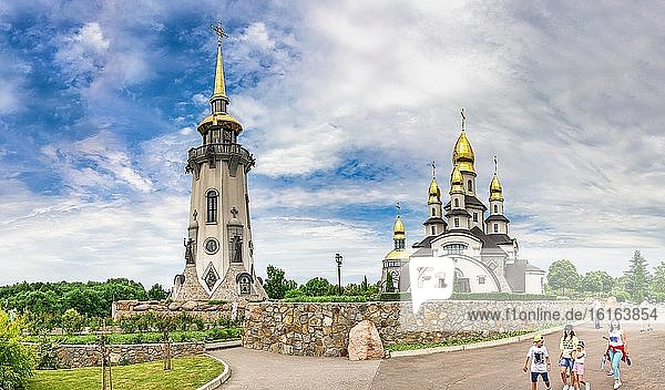 Buki  Ukraine 06. 20. 2020. Temple Complex with landscape Park in Buki  Ukraine  on a cloudy summer day.