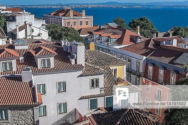 Aerial view from Castelo de Sao Jorge viewing point in Lisbon city  Portugal.