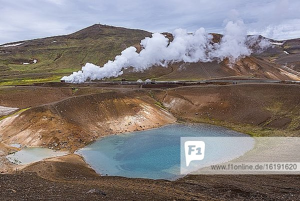 Pipes of Kroflustod - Krafla geothermal power plant close to the Krafla Volcano in Iceland  view from Viti crater.