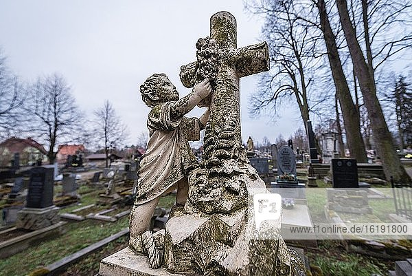 Cemetery in front of Church of the Virgin Mary in Broumov town in Nachod District of Czech Republic  oldest preserved all-wood construction in Central Europe.
