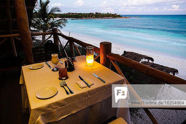 Restaurant table on beach  Tulum  Riviera Maya  Mexico