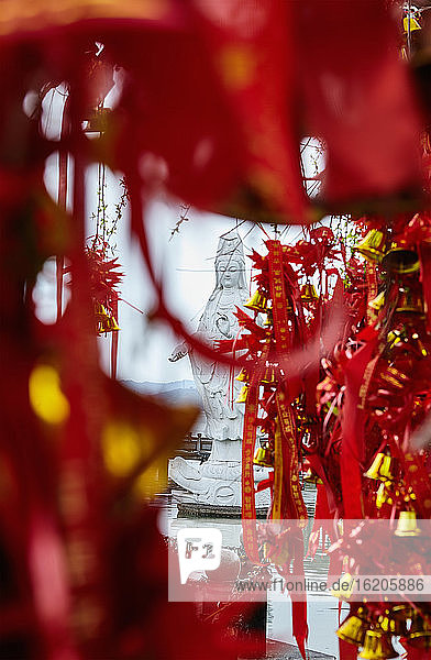 Good luck religious offerings near temple  Ningbo  Zhejiang  China