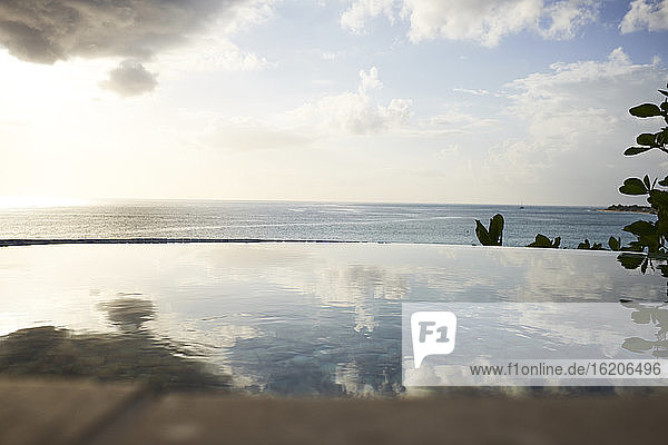 View of infinity swimming pool and sea,  Saint Martin,  The Caribbean